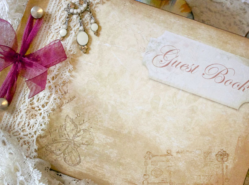 Wedding guest book - vintage shabby chic, custom